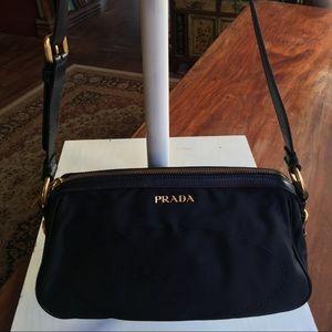 Prada Black Nylon Jacquard Shoulder Bag